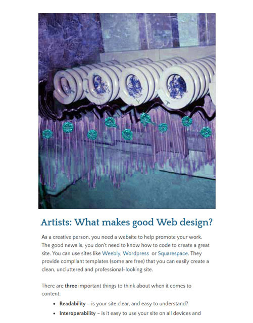 Artists: What makes good Web design? ~ by Patricia Pinsk