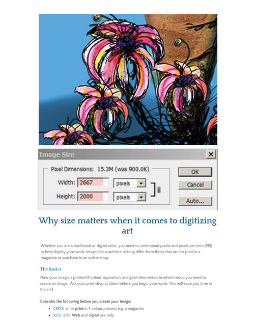 Why size matters when it comes to digitizing art  ~ by Patricia Pinsk
