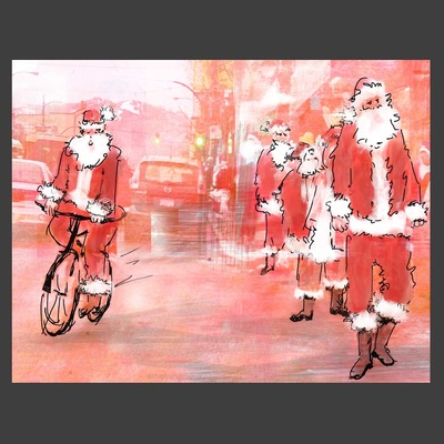SantaCon (featured in The Georgia Straight publication) ~~ Medium: ink, watercolour, digital photo-collage ~~ © Patricia Pinsk