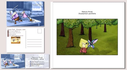 My promotional package: postcards (front and back), business cards (front and back) and portfolio  © Patricia Pinsk