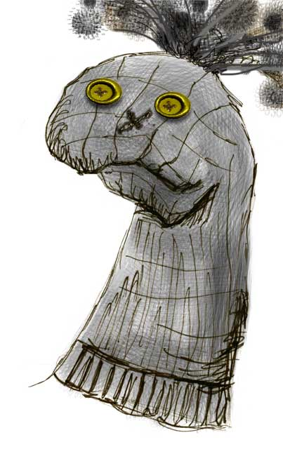 Sock puppet © Patricia Pinsk illustration